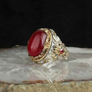 SOLID 925 STERLING SILVER MENS JEWELRY CABOCHON MALAGASY RED RUBY MEN'S RING
