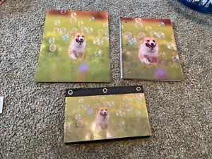 NEW! Set of 3 Running Corgi Dog School Supply paper folder pouch Hilarious!