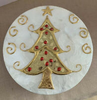 Hand Made Shell Paper Mache Christmas Holiday Tree Round Gift Box