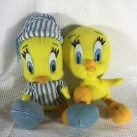 "Looney Tunes TWEETY BIRD Plush Pajamas Ace- Play by Play 1997 10"" + 9"" Tweety"
