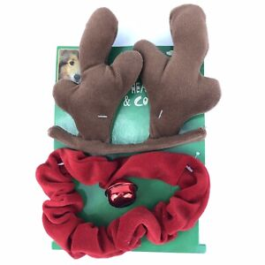 "Christmas Dog Reindeer Antlers Headband & Jingle Bell Collar Neck 9-16"" Velour"