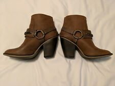 Womens Candie's Culver Western Harness Ankle Boots Size 9 Cognac Brown Round Toe