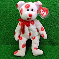 NEW Ty Beanie Baby Smooch The Bear Retired Plush Toy - MWMT - FREE Shipping