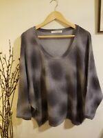 Parker Blue Lux Cashmere Women's Tie Dye Pullover Sweater Dolman Gray Small