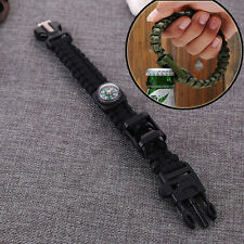 6in1 Survival Bracelet Paracord Flint Fire Starter Scraper Whistle Bottle opener
