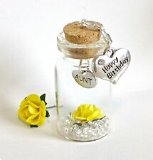 BIRTHDAY GIFT.   AUNT.    A  BEAUTIFUL MINI KEEPSAKE  BOTTLE. 4cms