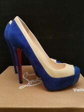 Authentic Christian Louboutin Mago 160 Cap Toe Blue Suede Nappa Patent Size 38.5