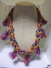 "20"" Adj Colorful Bead, Cord & Tassle Braided Fashion Necklace"