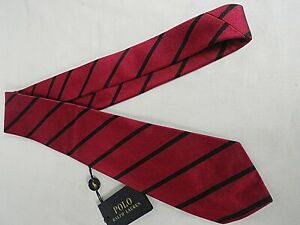 NEW Ralph Lauren Handmade In Italy Woven Red & Black Striped Silk Tie RRP £85