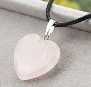 Beautiful Rose Pink Quartz Love Heart Pendant Black Cord Necklace Nice Gift HQ