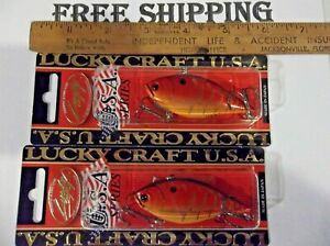 (LOT OF 2) LUCKY CRAFT LVR D-7S 1/2OZ LVR D7S-459 RAYBURN RED CRANKBAITS LURES