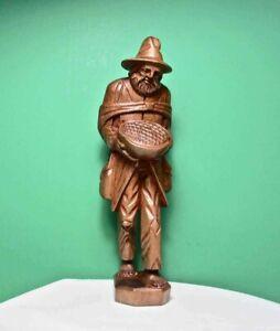 "Vintage Hand Carved WOOD MAN FIGURINE Folk Art Traveler Tramp 10"" TALLPeru"
