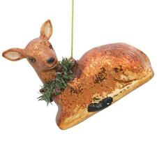 Reindeer with the Wreath Glass Christmas Ornament 3.5 Inches