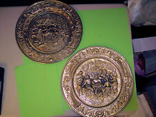 """2 Two Vintage Colonial Wall Hanging Platters Chargers Brass 14"""" Diameter England"""