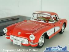 CHEVROLET CORVETTE MODEL CAR 1957 1:34 SCALE RED + DISPLAY CASE KINSMART C1 K8