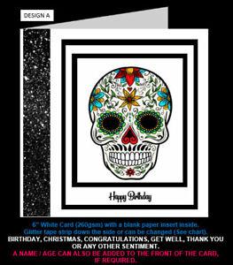 Day of the Dead / Sugar Skull Birthday Card, Christmas Card, Congratulations etc