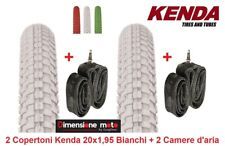"2 Copertoni KENDA 20x1,95 K-RAD Bianco + 2 Camera per Bici 20"" MTB Mountain Bike"