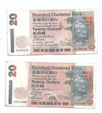Hong Kong Standard Chartered $20 1997 and 2000 2pcs No tear No Hole