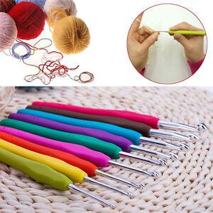 9Pcs 2-6mm Aluminum Knitting Needles Set Ergonomic Grip Crochet Hook Soft Handle