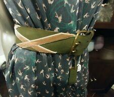 Linea pelle NWOT Medium deep green leather belt Gold buckle  hand made size L
