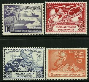 Falkland Is. Dependencies 1949 UPU set Mint Lightly Hinged Fresh Gum