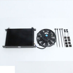 "Engine Transmission Oil Cooler + 7"" Electric Fan Kit Universal 15 Row 10AN Black"