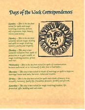 Book of Shadows Spell Pages **Days of the Week ** Wicca Witchcraft BOS