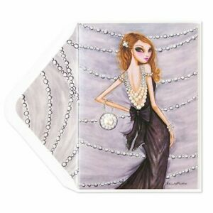 Bella Pilar Papyrus Birthday card -Girl in Black Gown with Strings of Pearls