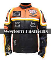 Men's Vintage Biker HDMM Retro Moto Racer Cowhide Leather Motorcycle Jacket