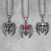 Cross Angel Wings Crystal Pendant Necklace Saint St. Michael Archangel Amulet