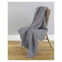 Grey Chenille Throw Blankets 127cm x 152cm Sofa Chair Bed Cover NEW