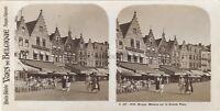 Belgium Bruges Maisons Da La Grande Place Foto Stereo Vintage Analogica