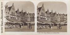 Belgique Bruges Maisons de la Grande Place Photo Stéréo Vintage argentique