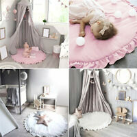 Newborn Infant Soft Cotton Crawling Carpet Baby Play Mats Round Lace Blanket