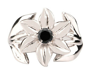 1.50Ct Round Cut Natural Jet Black Diamond Solitaire Ring In 925 Sterling Silver