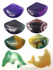 Collection XTreme: 8 Beautiful Dragon Veins Agate Beads (Fans And Dolphins)
