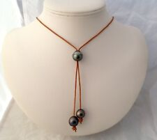 Free Shipping! 12 - 14mm AA Trio of Tahitian Pearls on a Genuine Leather Lariat