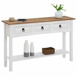 Konsolentisch Schreibtisch Landhaus Stil Beistell Anrichte weiß braun