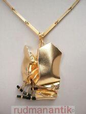 LAPPONIA GOLD 585  COLLIER mit großem ANHÄNGER u. TURMALINSTÄBEN - signiert 1978