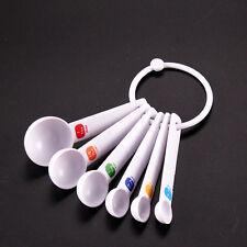 White Measuring Spoon Tea Scoop Teaspoon Baking Cooking Kitchen Tool 6PC Trendy