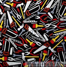 BonEful Fabric FQ Cotton Quilt Black Red Screw Bolt Tool Men Boy Hammer Garage