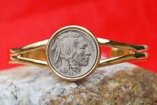 US 1936 Indian Head Buffalo Nickel Coin Gold Plated Cuff Bracelet NEW