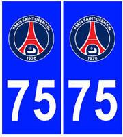 Autocollant PSG Paris 75 plaque immatriculation auto