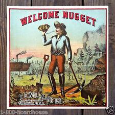 Vintage Original WELCOME NUGGET TOBACCO Label NOS Unused 1880s Gold Miner NOS