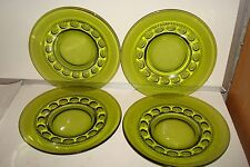 "Vintage Indiana Glass ""Kings Crown"" Set Of 4 Green Salad Plates"