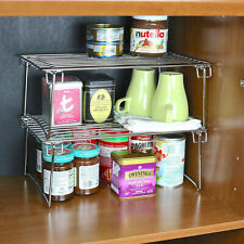 2 Tier Fold able Chrome Metal Stand for Kitchen Cupboard Storage Shelf Rack