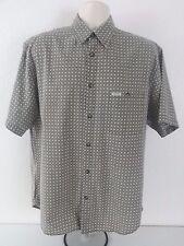 GUESS JEANS Men's Shirt L Green White Geometric Short Sleev Button Front Cotton