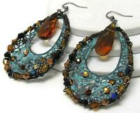Blue Art Deco Patina Tear Drop Pierced Chandelier Dangle Earrings