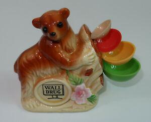 Vintage Wall Drug Brown Bear Measuring Spoon Holder Ceramic Made in Japan