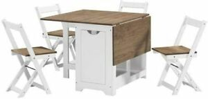 Kitchen Dining Table With 4 Chairs Set Folding Butterfly White Wooden Fold Away